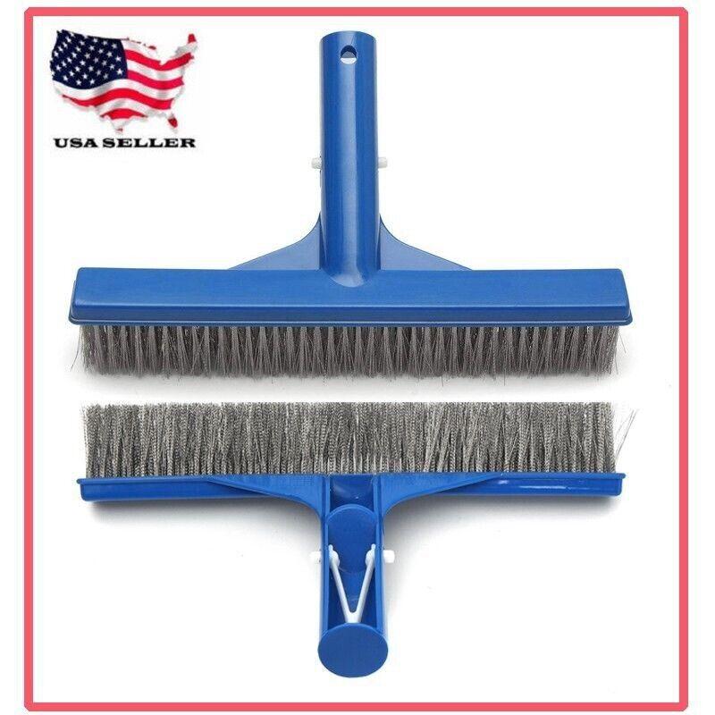 "Heavy Duty Pool Brush 10"" Swimming Pool Cleaner Brush Stainless Steel Bristles"