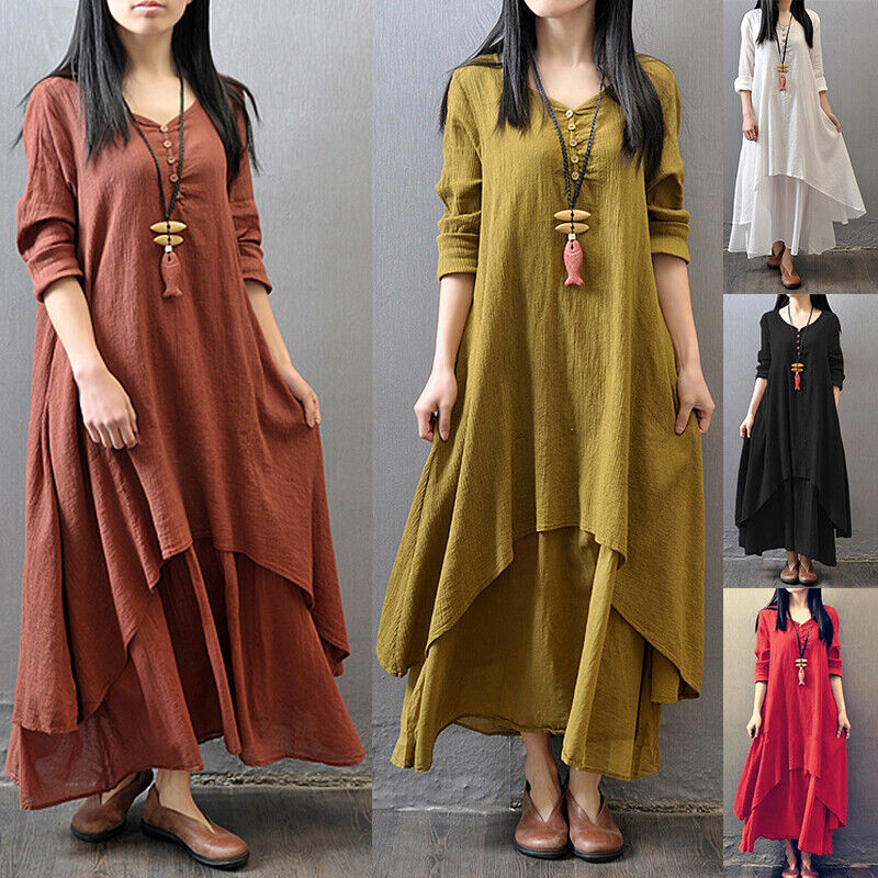 Womens Casual Kaftan Tunic Gypsy Maxi Dress Boho Cotton Linen Long Sleeve Dress