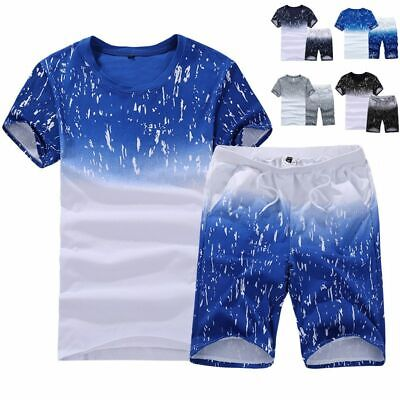 2pcs Men Tracksuit Short Sleeve T-shirt Shorts Set Jogging S