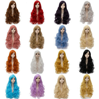 Long Hair Costume Wigs (80cm Long Curly Wigs Halloween Cosplay Costume Hair Anime Full Wavy Party)