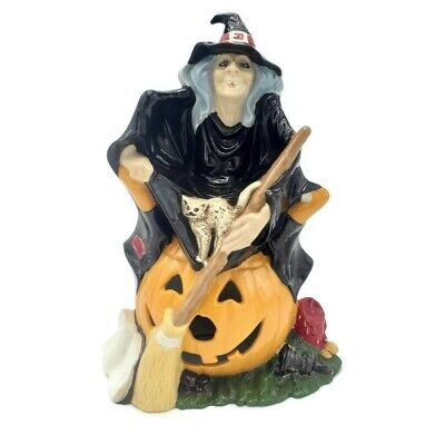 Vintage Byron Mold 1972 Ceramic Grey Haired Witch Pumpkin White Cat Halloween