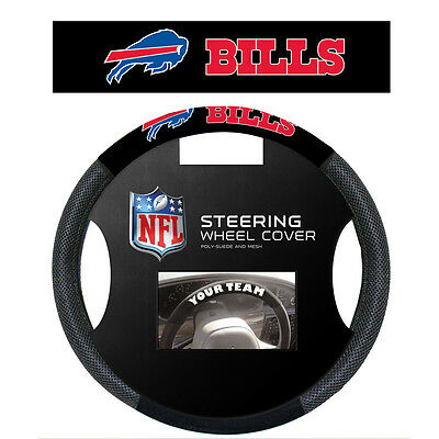 BUFFALO BILLS SUEDE MESH CAR STEERING WHEEL COVER NFL FOOTBALL