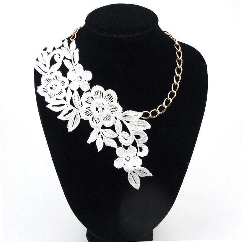 Women Black Lace Flower Chain Tassel Choker Collar Necklace Gothic Punk USJU