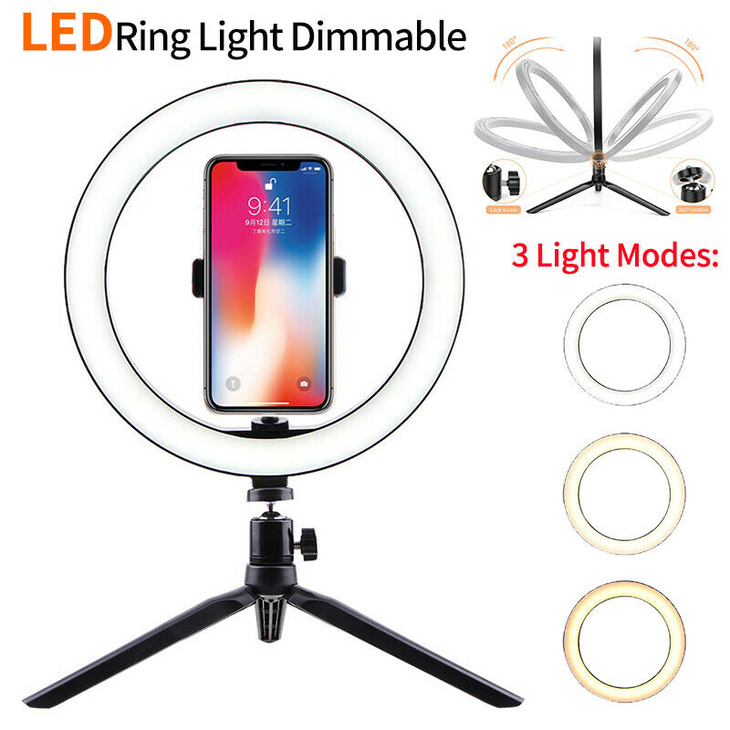 "10"" Selfie Desk LED Ring Light with Stand Phone Holder for Youtube Vedio Makeup"