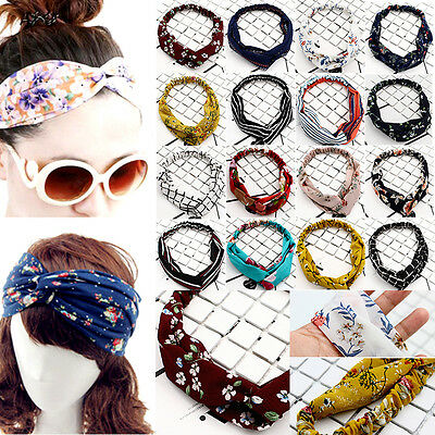 Women Popular Yoga Elastic Floral Hair Band Headband Turban Twisted Knotted