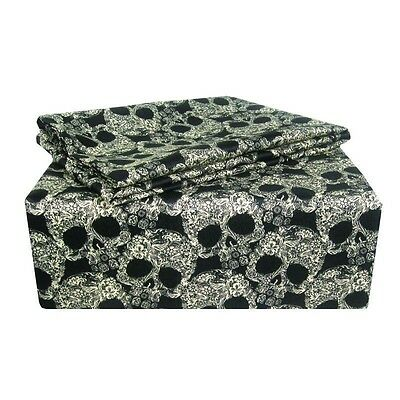Veratex Flower And Skulls Black And Tan Sheet Set    All Sizes