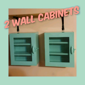 2 Mint Coloured Wall Display Cabinets