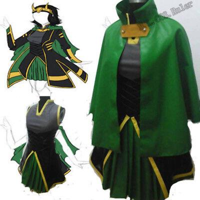 Womens Loki Costume (New Thor The Avengers Green Women's Loki Uniform Full Set Cosplay)