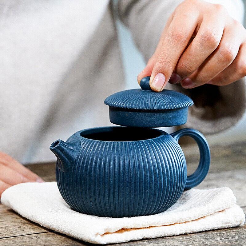 Chinese Yixing Zisha Pottery Tianqing Clay 260cc Handmade Ribbed Xishi Teapot