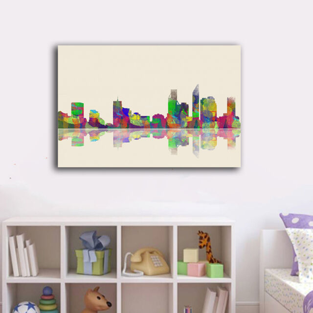 Watercolor City Skyline B Stretched Canvas Print Framed Wall Art Home Decor Gift