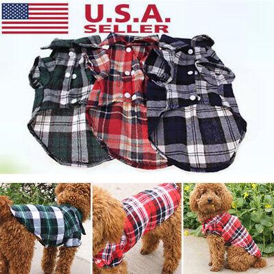 Small Puppy Costumes (New Small Pet Dog Puppy Plaid T Shirt Lapel Coat Cat Jacket Clothes Costume)