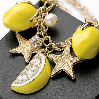 Trendy Creative Gold Pearl Starfish Lemon Fruit Bracelet Hand Chain Bangles Gift - Starfish Fruit