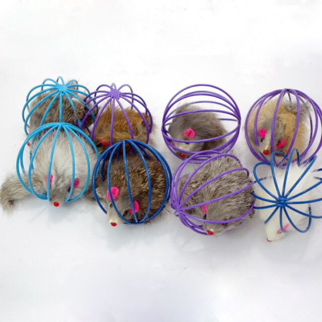 Fun Gift Play Playing Toys False Mouse in Rat Cage Ball For Pet Cat Kitten