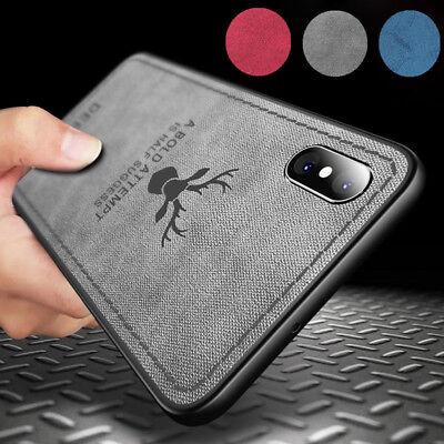 Deer Pattern - Deer Pattern Hybrid TPU Leather Case Soft Matte Cover For iPhone XS Max XR 8 7 6