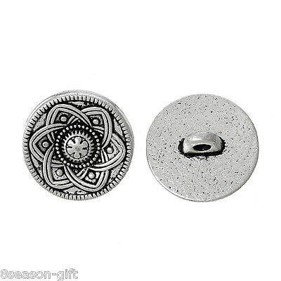 (30pcs Silver Tone Flower Decorative Metal Buttons Fit Sewing Scrapbook 15mm)