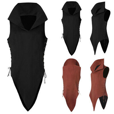 US STOCK Men Medieval Shirt Vest Summer Sleeveless Art Jacket Tops Costume Tunic