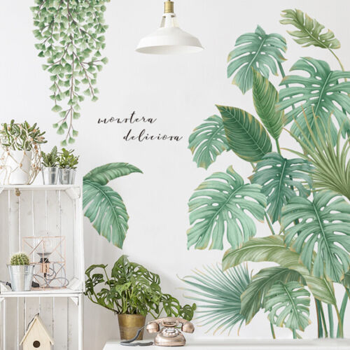 Home Decoration - Wall Stickers PVC Green Tropical Leaves Plant Decal Nursery Art Mural Home Decor