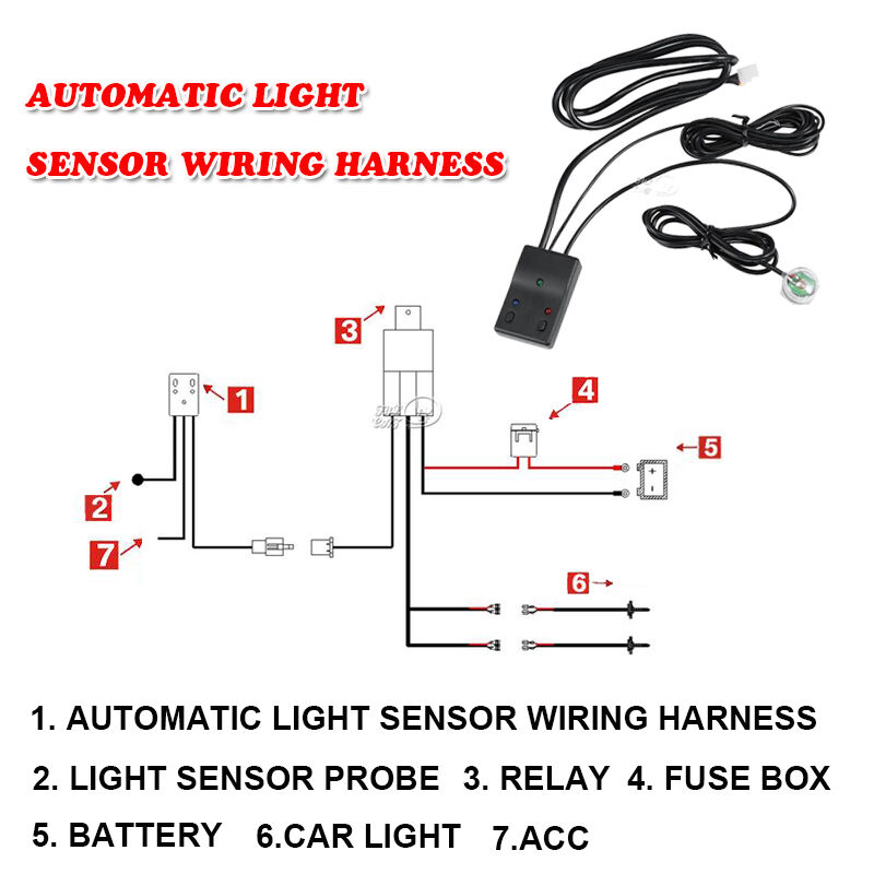Automatic On/Off Control Switch LED Work Light Bar Relay Wiring Harness ATV SUV