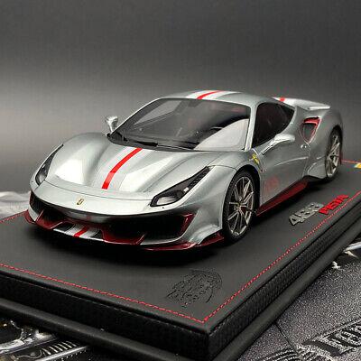 New BBR 1:18 Ferrari 488 Pista Silver Wing Special Edition Car Model Collection