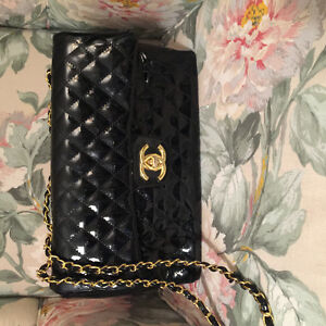 Black Vinyl Chanel 2.25 Classic Flap bag