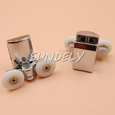 2 x Twin Bottom Zinc Alloy Shower Door Rollers/Runners/Wheels 23mm wheel