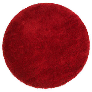 Red Ikea Adum Rug. Round in shape. High-Pile