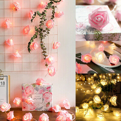 20 LED Rose Flower Xmas String Lights Fairy Wedding Christmas Party Garden Decor ()