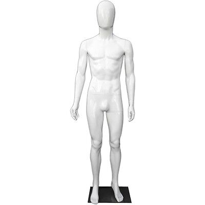 Mn-439 Glossy White Plastic Egghead Male Full Size Mannequin With Removable Head