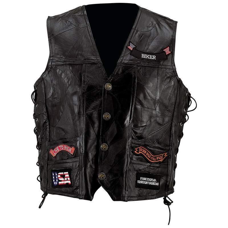Купить Mens Black Genuine Leather Motorcycle VEST w/ 14 на eBay.com из Америки с доставкой в Россию, Украину, Казахстан