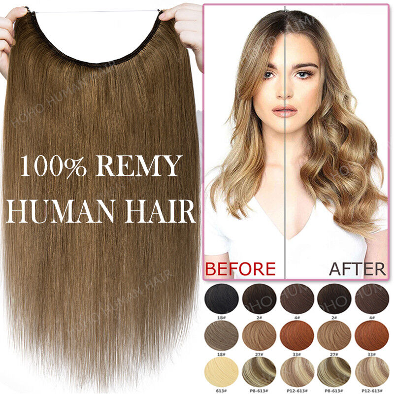 Seamless Wire in Remy Human Hair Extensions No Clip Hidden Secret Headband Thick