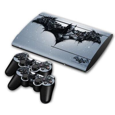 PLAYSTATION PS3 SUPER SLIM CONSOLE STICKER BATMAN ARKHAM ORIGINS & 2 PAD...