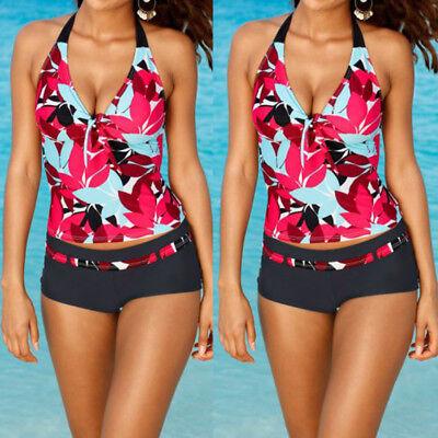 USA Women Tankini Sets Sporty with Boy Shorts Bikini Swimsuit Bathing Swimwear