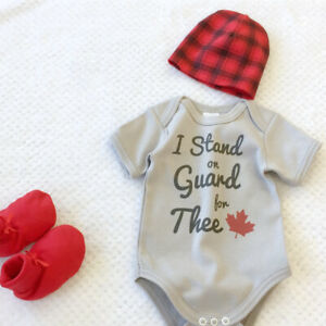 *NEW* Canadian-made Canada onesies, hats & tees