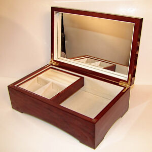 Mele Jewelry Box 2 Tier Cherry Wood [ship option]-MA