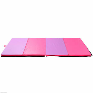 "4'x10'x 2"" Gymnastics Tumbling Gym Mat Pink Purple Yoga Mat"