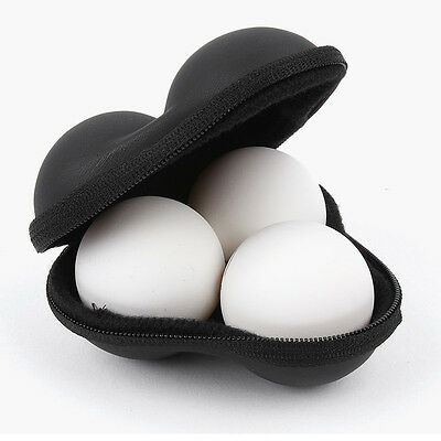 XIOM Table Tennis 3 Balls Case Ping Pong Ball Hard Case Holder Carrier Black Bag