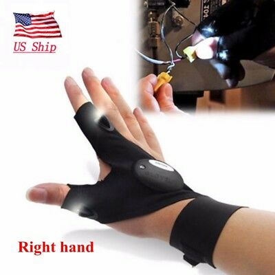 US! LED Finger Glove Flashlight Waterproof Gear Rescue Auto Repair Lighting - Finger Flashlights