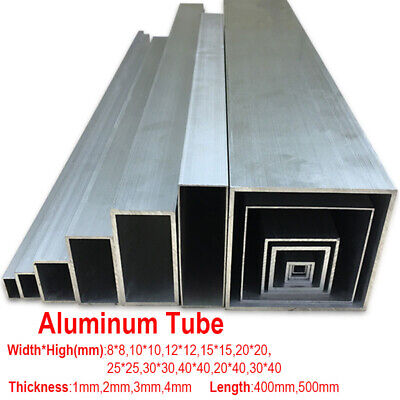 6063 Aluminum Square Tube Metal Pipe Bar Material 1 2 3mm Thick 400 500mm Length 3 Mm Thick Tube