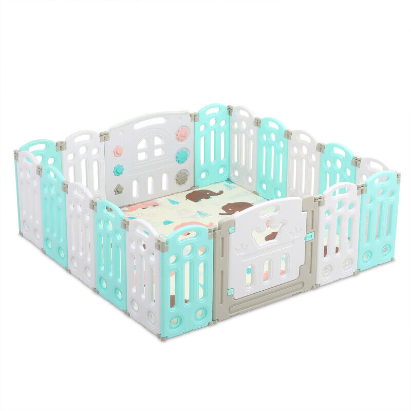 14 Panel Foldable Baby Playpen Kids Safety Play Center Yard