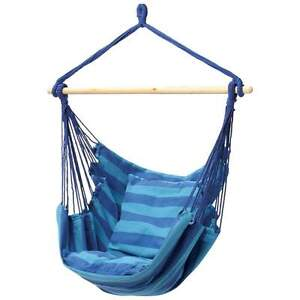NEW BLUE Hanging Rope Chair Comfy Seat Hammock Outdoor Porch Swing Max 265 lbs