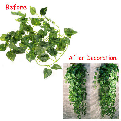 Home Decoration - 2x Artificial Vine Fake Foliage Flower Hanging Leaf Garland Plants Home Decor