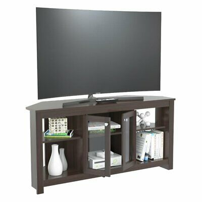 Inval Corner TV Stand with Glass Doors in Espresso