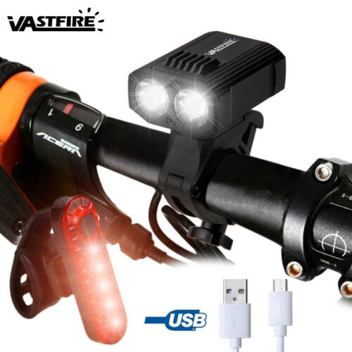15000LM Bicycle Front Head Light Angle Adjustable USB Rechargeable Waterproof