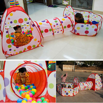 3 In 1 Kids Portable Play House Tent Tunnel Ball Crawl Pool Indoor-Outdoor - Tent House Tunnel