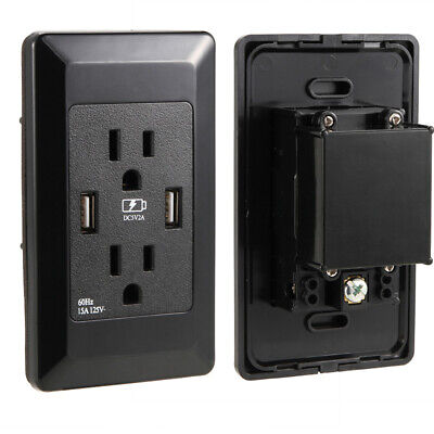 - 110V Dual USB Port Wall Socket Charger AC Power Receptacle Outlet Plate Panel US