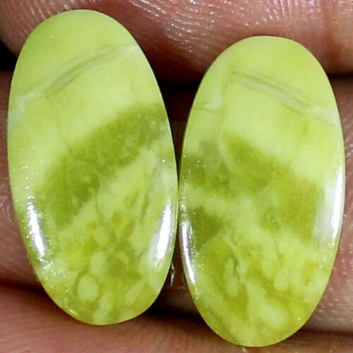 20.50 Cts Natural Yellow OPAL Pair 12x23x4 mm Oval Cabochon Loose Gemstones