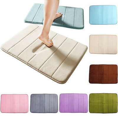 Floor Mat Bath Rug Non-slip Absorbent Soft Memory Foam Bathroom Shower Carpet