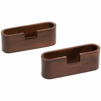 2x Wood Business Card Display Stand Holder Organizer For Desk Office 4.3 X 1.15