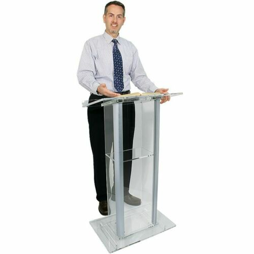 Clear Acrylic and Aluminium Lectern, Podium or Pulpit with shelf