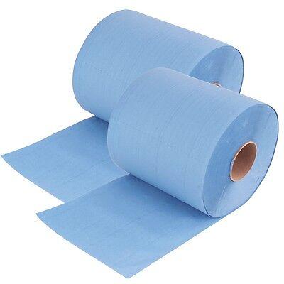 2x Rollen 3 lagig 36 cm breit Putztuch Papier-Rolle blau Putzpapier 500 Blatt